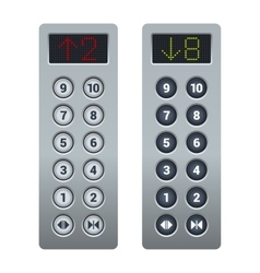 Steel elevator buttons panel set vector