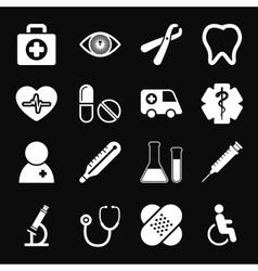 White medical icons set vector