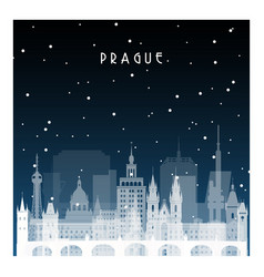 winter night in prague night city in flat style vector image