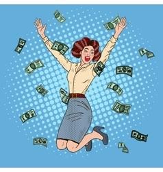 Pop art successful jumping business woman vector