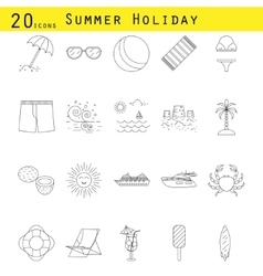 Summer holiday thin line icon set vector