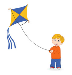 Boy launching kite vector