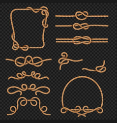 Rope border and frames with knots marine vector
