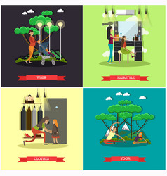 Set of mother square posters in flat style vector