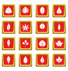 plant leafs icons set red vector image