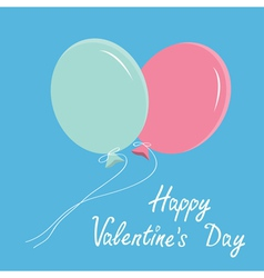 Blue and pink balloons happy valentines day vector