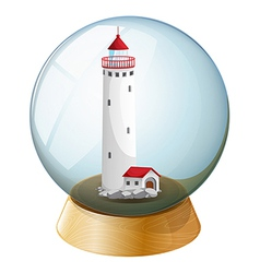 A crystal ball with a lighthouse inside vector