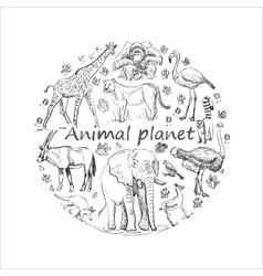 Hand drawn save animal planet vector