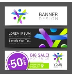 Set of banners creative people discount tamplate vector