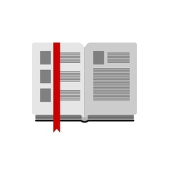 Open book with bookmark on white background flat vector