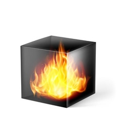 Cube with fire flames vector