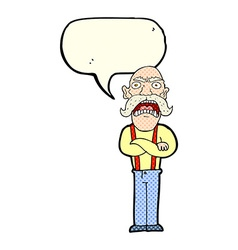 Cartoon shocked old man with speech bubble vector