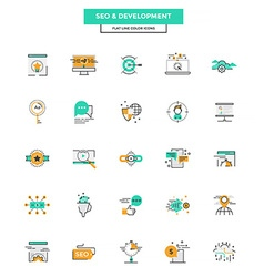 Flat line color icons seo and development vector