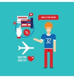 Online flight booking easy mobile payment travel vector