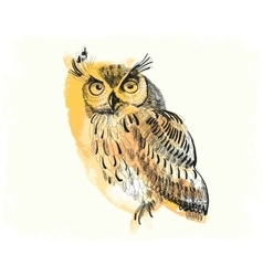 owl hand-drawing on a watercolor background vector image