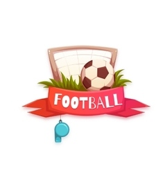 Banner with football ball and goal vector image
