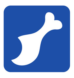 Blue white information sign - gnawed chicken leg vector