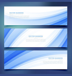 Business style blue wave banners set vector