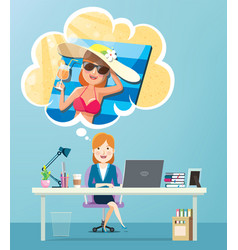 Businesswoman working and thinking about vacation vector