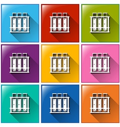 Buttons with test tubes at the rack vector image