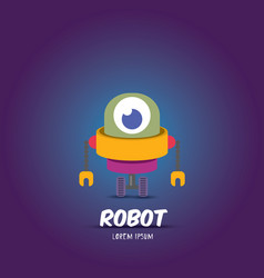 Cartoon flat robot or cyborg vector