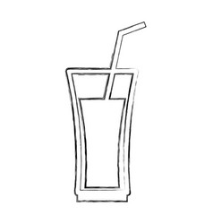 cup glass with straw icon vector image vector image