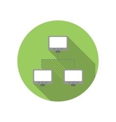 Exchange of data between three computers flat icon vector image vector image
