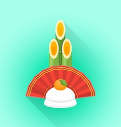 flat kadomatsu japan new year decoration icon vector image
