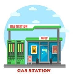 Gas station or petrol store market or shop vector