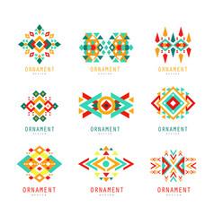 Geometric ornament set abstract logo elements vector