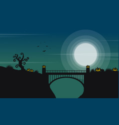 Halloween with bridge and moon landscape vector
