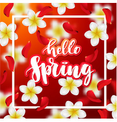 Hand drawn calligraphy hello spring vector