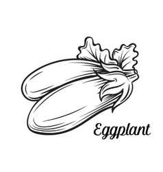 Hand drawn eggplant icon vector image vector image