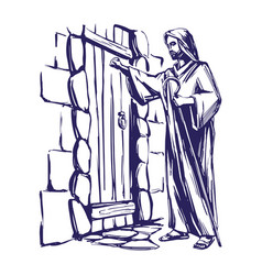 jesus christ son of god knocking at the door vector image vector image
