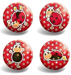 Ladybug on red badges vector