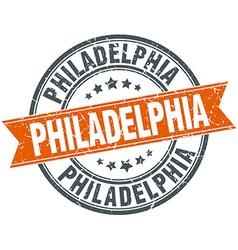 Philadelphia red round grunge vintage ribbon stamp vector