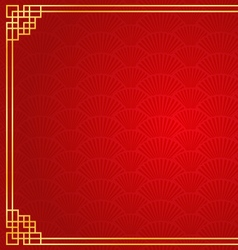 red chinese fan abstract background with golden vector image