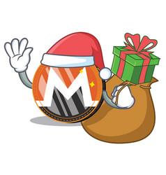 Santa with gift monero coin character cartoon vector