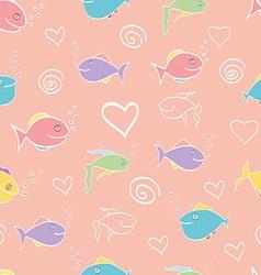 Seamless pattern cute cartoon fish vector image vector image