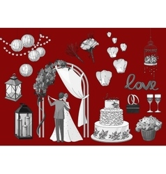 Set of hand drawn wedding elements - string of vector