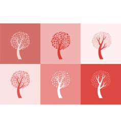 set of six love trees vector image vector image