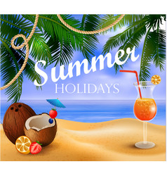 Summer exotic beverage on tropical beach vector