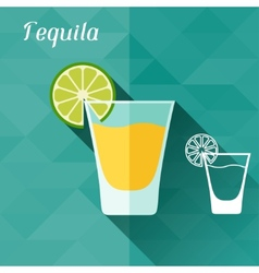 with glass of tequila in flat design style vector image