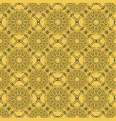Yellow seamless decorative filigree lace patterns vector