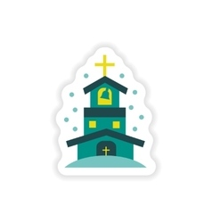 Paper sticker on white background christian church vector