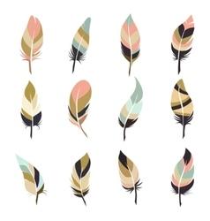 Boho style feather set vector image