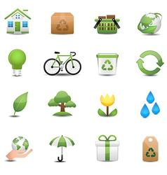 Green ecology icon set vector