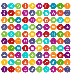 100 happy childhood icons set color vector