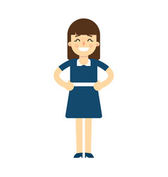 Happy young woman with hands on waist gesture vector