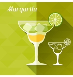 with glass of margarita in flat design style vector image